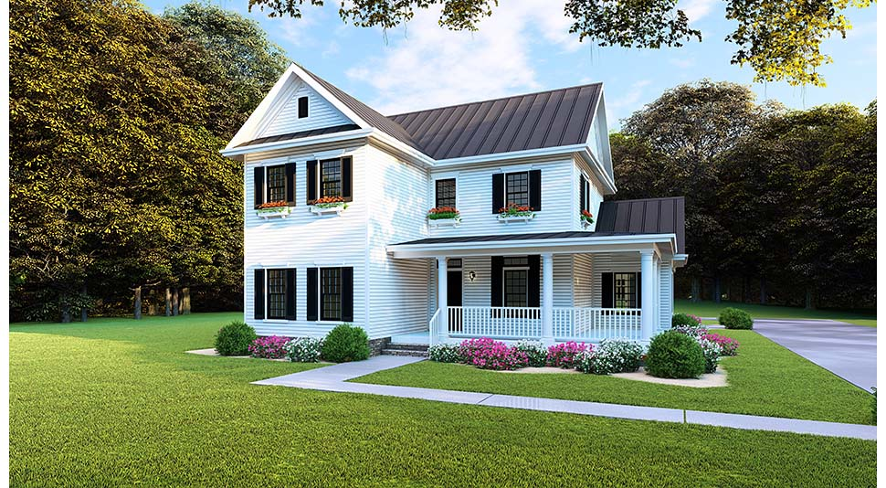 Country, Farmhouse, Southern House Plan 82505 with 4 Beds, 3 Baths, 2 Car Garage Front Elevation