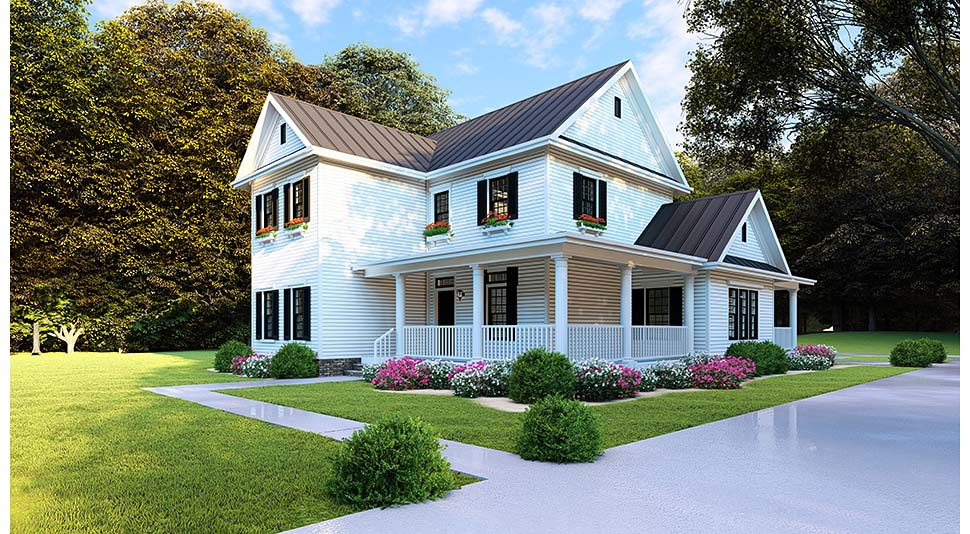 Country, Farmhouse, Southern Plan with 2268 Sq. Ft., 4 Bedrooms, 3 Bathrooms, 2 Car Garage Picture 2