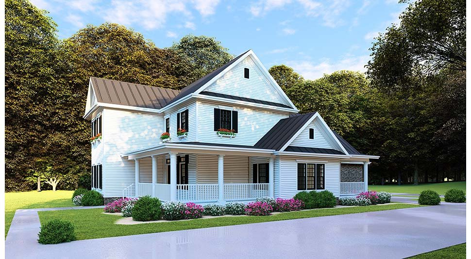 Country, Farmhouse, Southern Plan with 2268 Sq. Ft., 4 Bedrooms, 3 Bathrooms, 2 Car Garage Picture 4