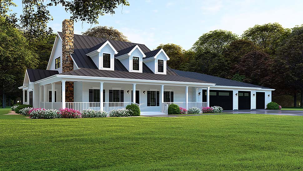 Southern , Farmhouse , Country , Elevation of Plan 82506