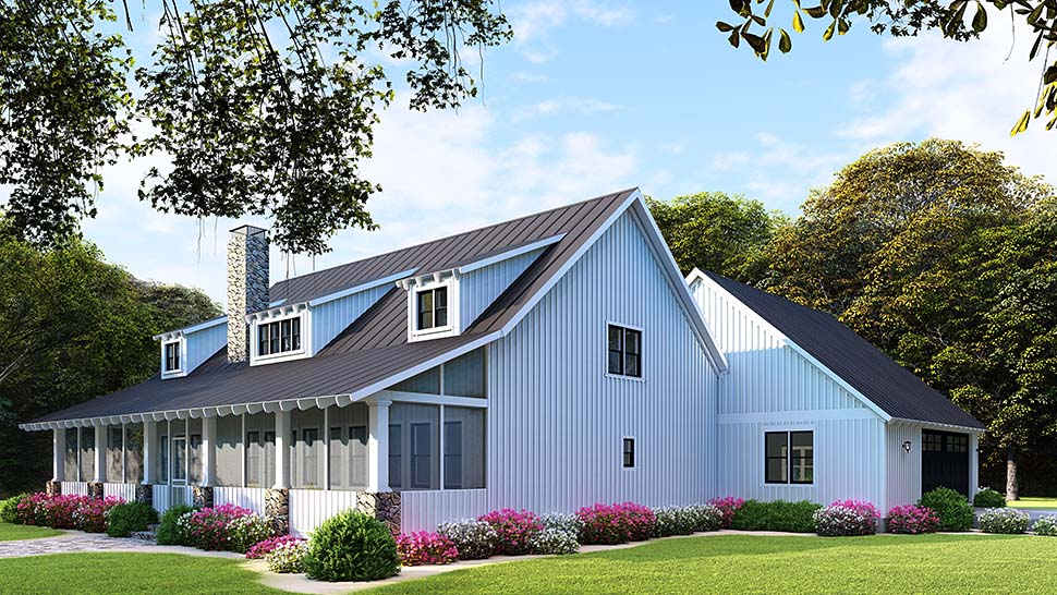 Country, Farmhouse House Plan 82507 with 5 Beds, 3 Baths, 2 Car Garage Picture 3