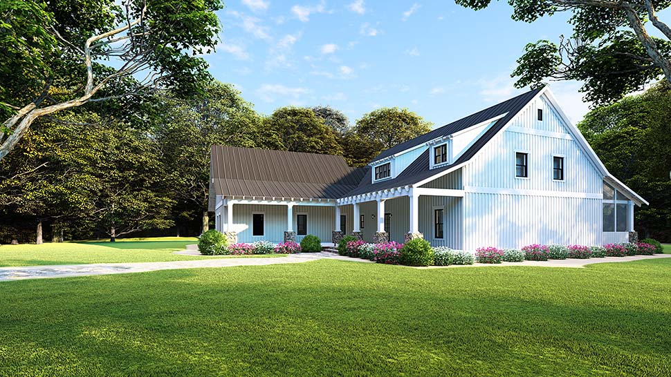 Country, Farmhouse House Plan 82507 with 5 Beds, 3 Baths, 2 Car Garage Picture 4