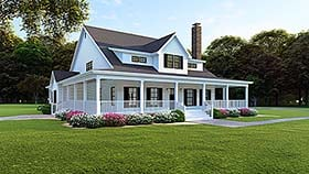 House Plan 82509 | Country Farmhouse Southern Style Plan with 3474 Sq Ft, 4 Bedrooms, 4 Bathrooms, 3 Car Garage Elevation