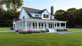 Country , Farmhouse , Southern House Plan 82509 with 4 Beds, 4 Baths, 3 Car Garage Elevation