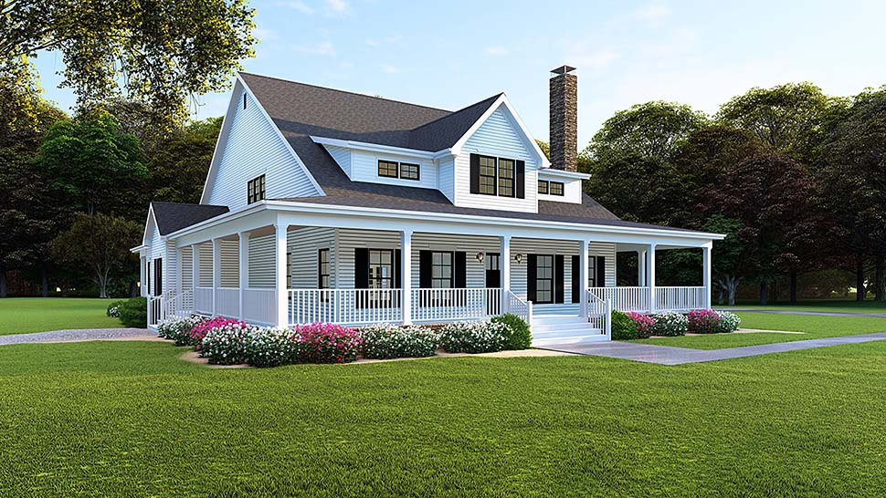 Country, Farmhouse, Southern House Plan 82509 with 4 Beds, 4 Baths, 3 Car Garage Elevation