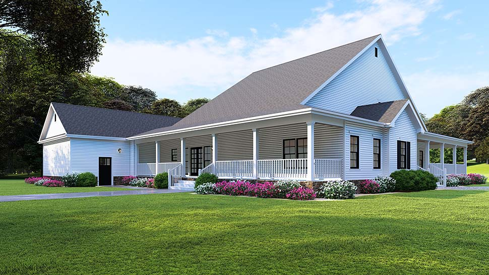 Country, Farmhouse, Southern House Plan 82509 with 4 Beds, 4 Baths, 3 Car Garage Rear Elevation