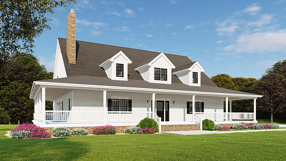 Country Farmhouse Southern Traditional Elevation of Plan 82510