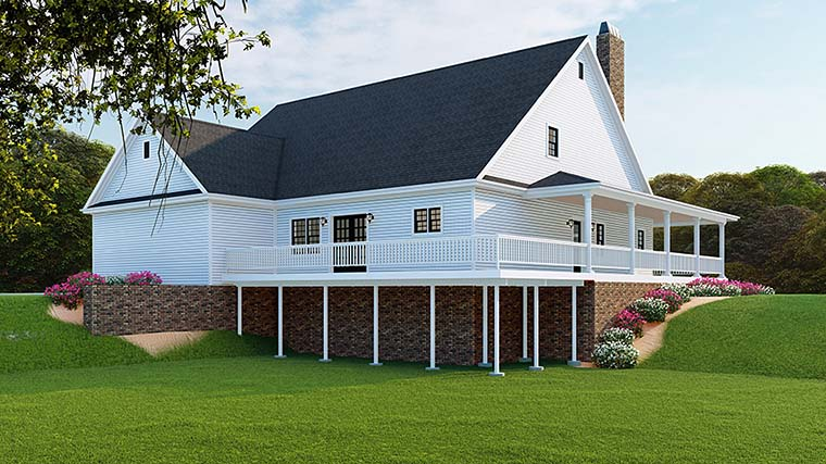 Country , Farmhouse , Southern , Traditional , Rear Elevation of Plan 82510