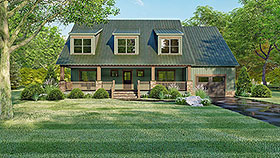 Cottage , Country , Southern House Plan 82514 with 4 Beds, 3 Baths, 1 Car Garage Elevation