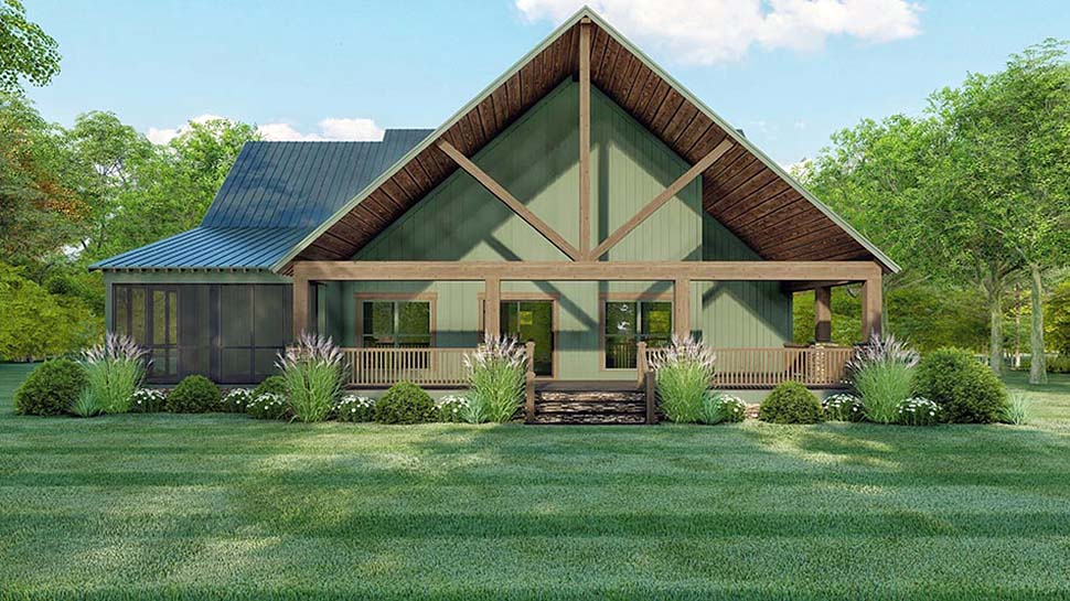 Cottage Country Southern Rear Elevation of Plan 82514