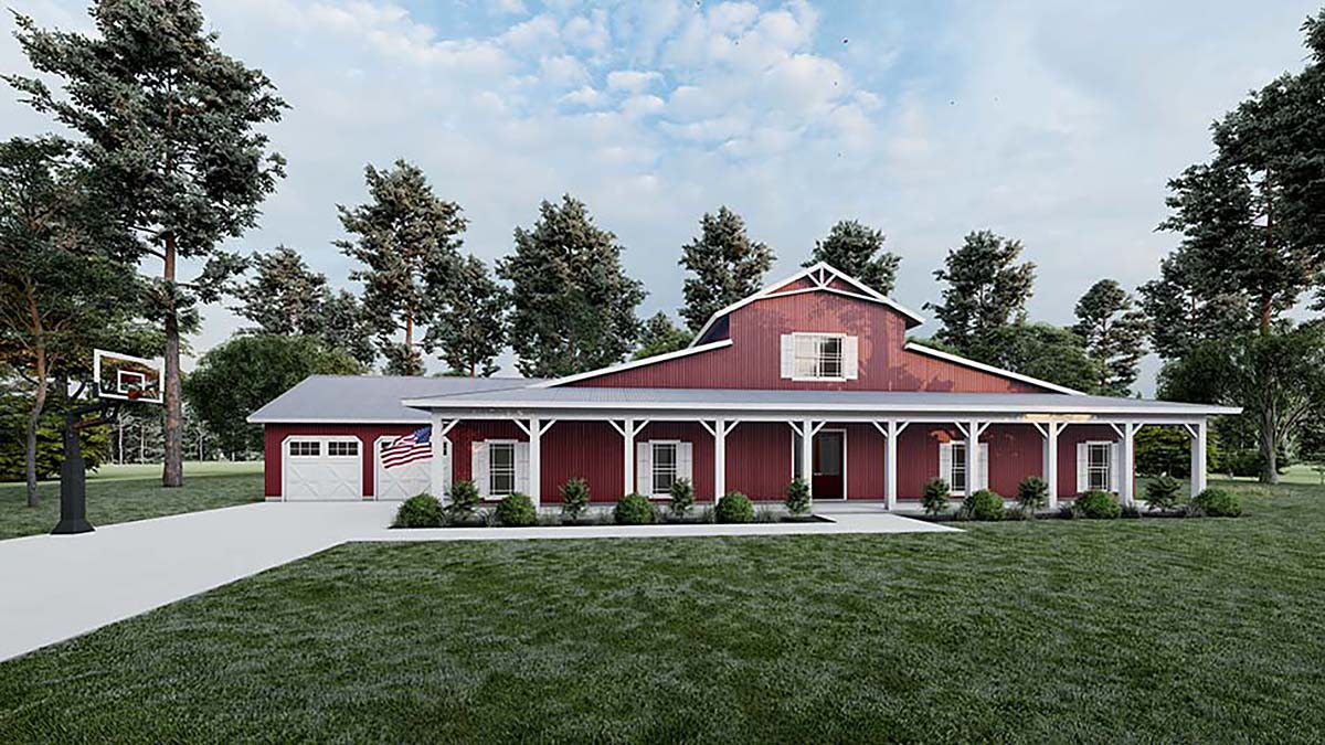 Country, Modern Farmhouse, Southern House Plan 82515 with 5 Beds , 4 Baths , 2 Car Garage Elevation