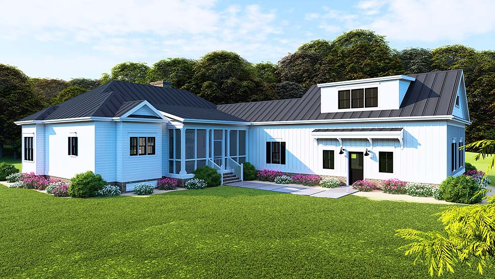 Bungalow Country Craftsman Traditional Rear Elevation of Plan 82516