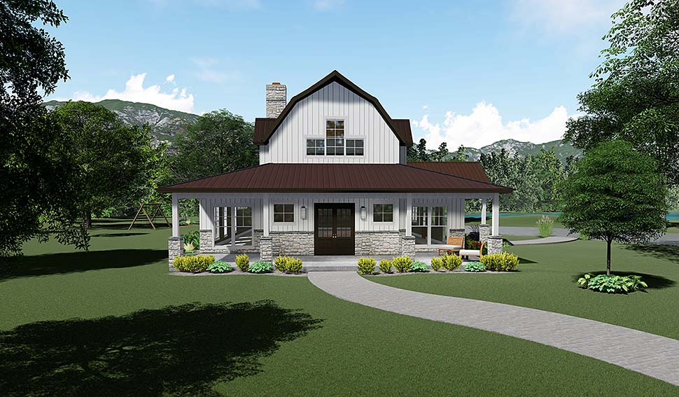 Contemporary , Country , Southern House Plan 82517 with 3 Beds, 4 Baths, 3 Car Garage Elevation