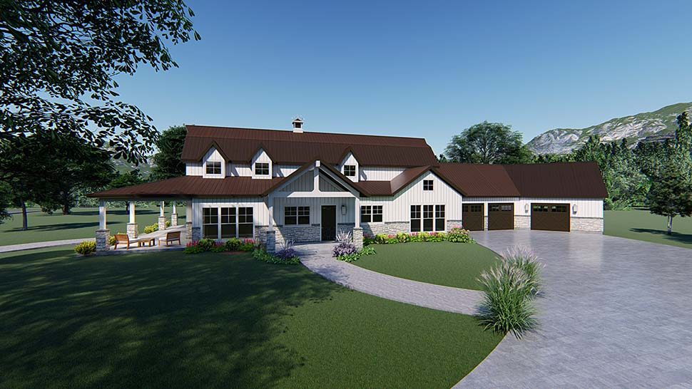Contemporary, Country, Southern House Plan 82517 with 3 Beds, 4 Baths, 3 Car Garage Picture 1