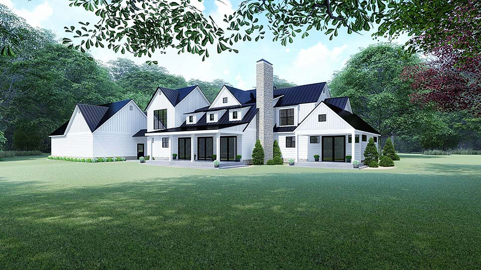 Country, Farmhouse House Plan 82518 with 4 Beds, 4 Baths, 3 Car Garage Rear Elevation