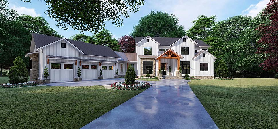 Country , Craftsman , Farmhouse , Elevation of Plan 82520