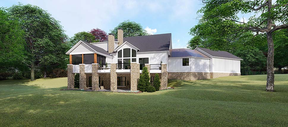 Country Craftsman Farmhouse Rear Elevation of Plan 82520