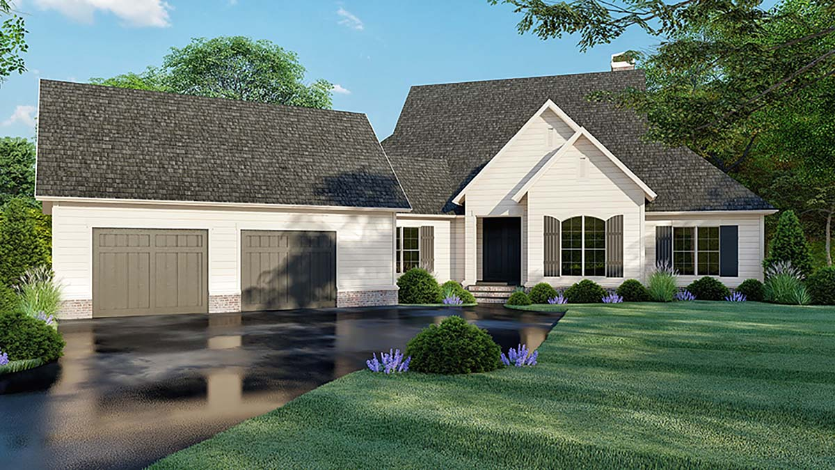 Country Farmhouse Southern Elevation of Plan 82521