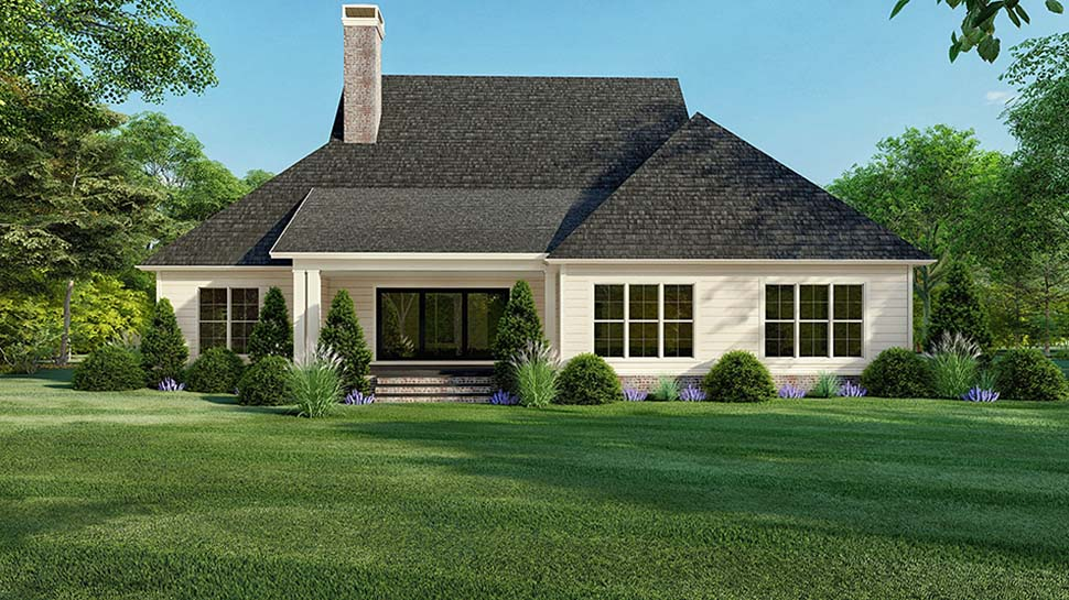 Country Farmhouse Southern Rear Elevation of Plan 82521