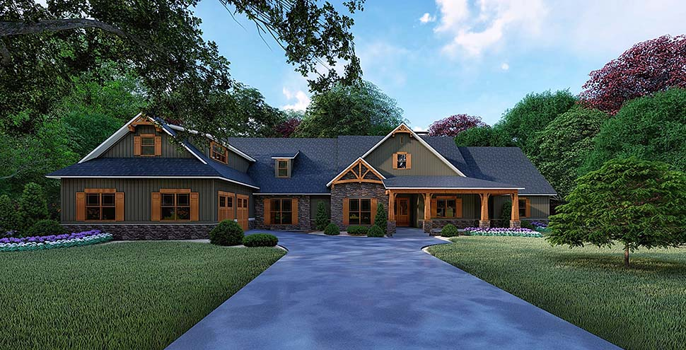 Bungalow, Craftsman, Traditional House Plan 82522 with 4 Beds , 5 Baths , 2 Car Garage Elevation