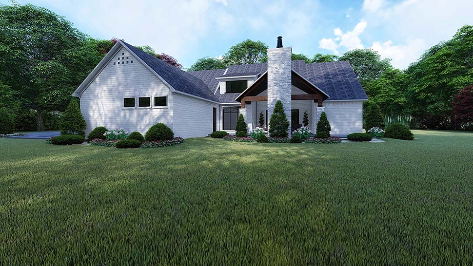 European , Traditional , Rear Elevation of Plan 82523
