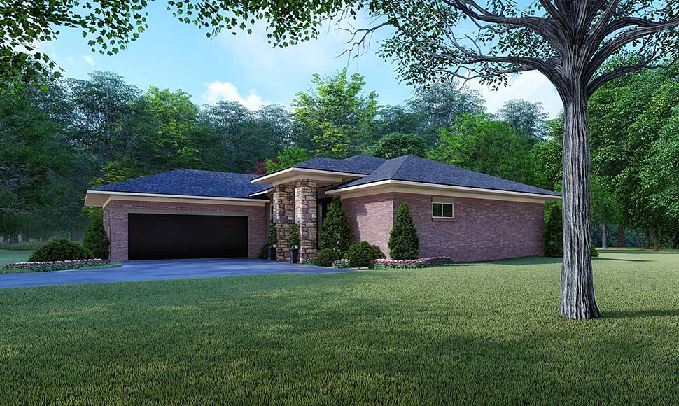 Contemporary, Mediterranean, Modern House Plan 82527 with 4 Beds, 2 Baths, 2 Car Garage Picture 1