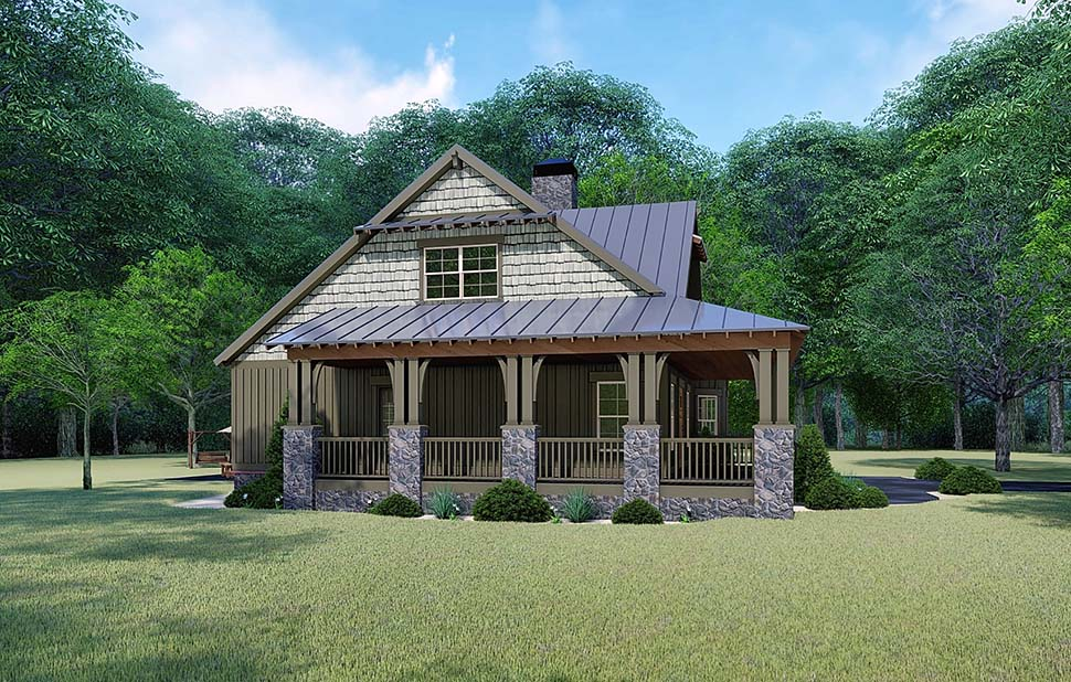 Bungalow , Country , Craftsman , Rear Elevation of Plan 82529