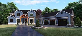 Country , Farmhouse House Plan 82531 with 5 Beds, 6 Baths, 3 Car Garage Elevation