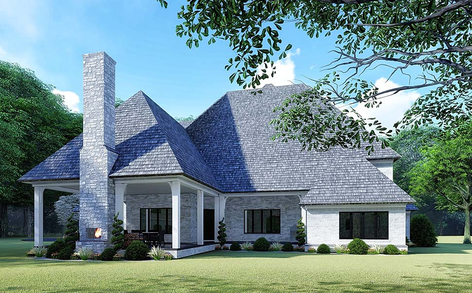 European House Plan 82532 with 5 Beds, 5 Baths, 3 Car Garage Rear Elevation