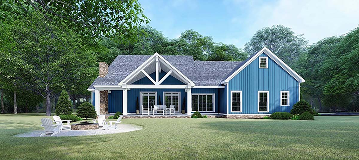 Bungalow Country Craftsman Farmhouse Rear Elevation of Plan 82533