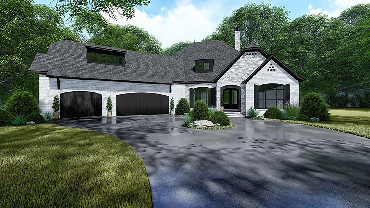Bungalow, Craftsman, European, FrenchCountry, House Plan 82534 with 4 Beds, 4 Baths, 3 Car Garage Elevation