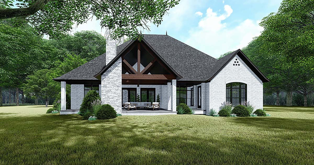 Bungalow , Craftsman , European , French Country , Rear Elevation of Plan 82534
