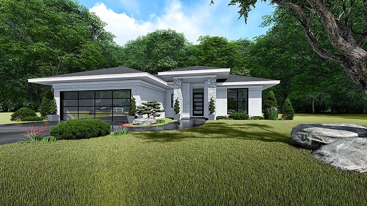Contemporary Mediterranean Modern Elevation of Plan 82535