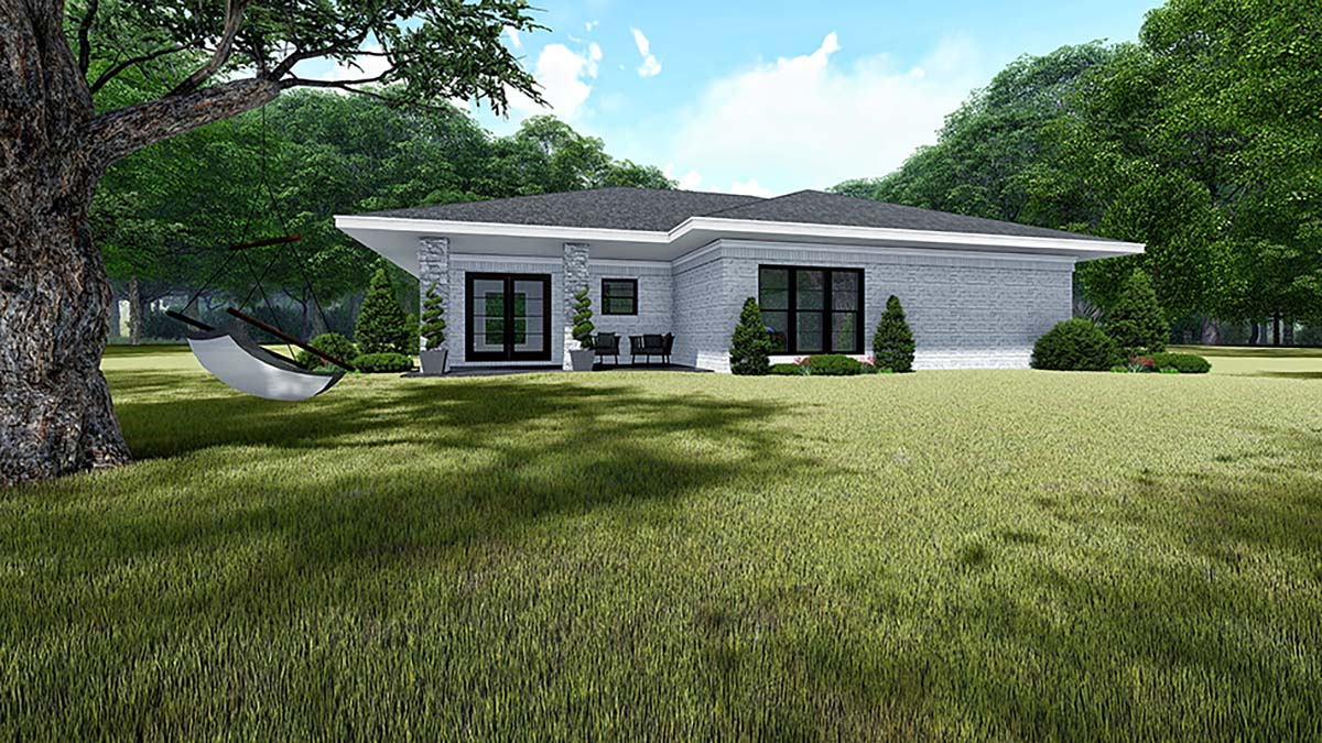 Contemporary Mediterranean Modern Rear Elevation of Plan 82535