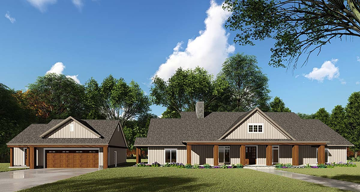Bungalow, Craftsman, Farmhouse House Plan 82536 with 3 Beds, 4 Baths, 2 Car Garage Front Elevation