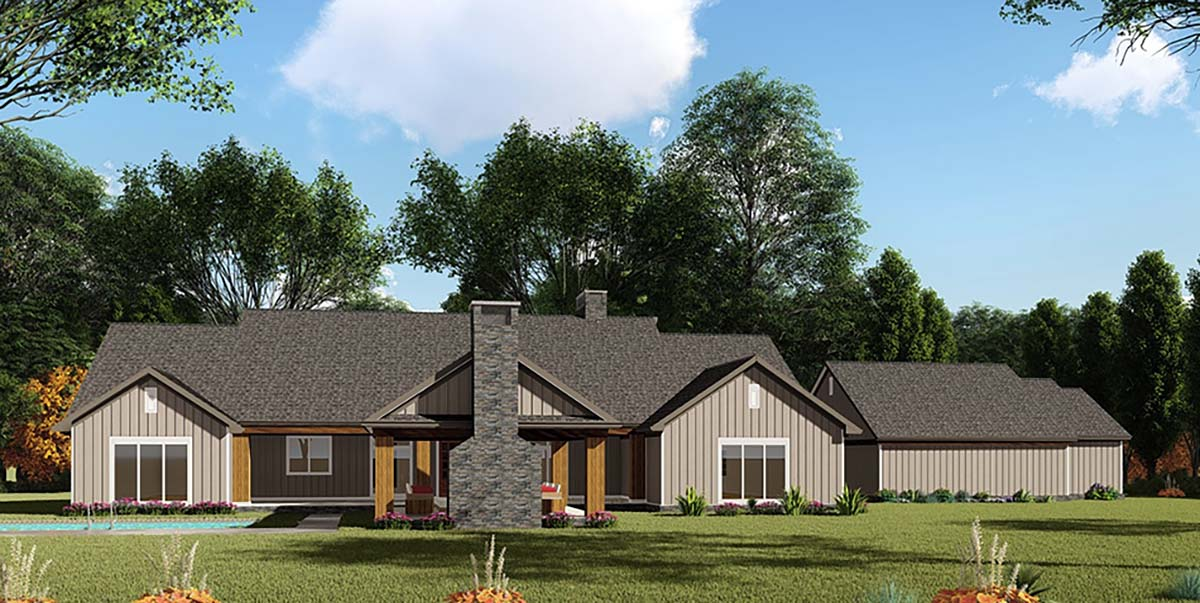 Bungalow, Craftsman, Farmhouse House Plan 82536 with 3 Beds, 4 Baths, 2 Car Garage Rear Elevation