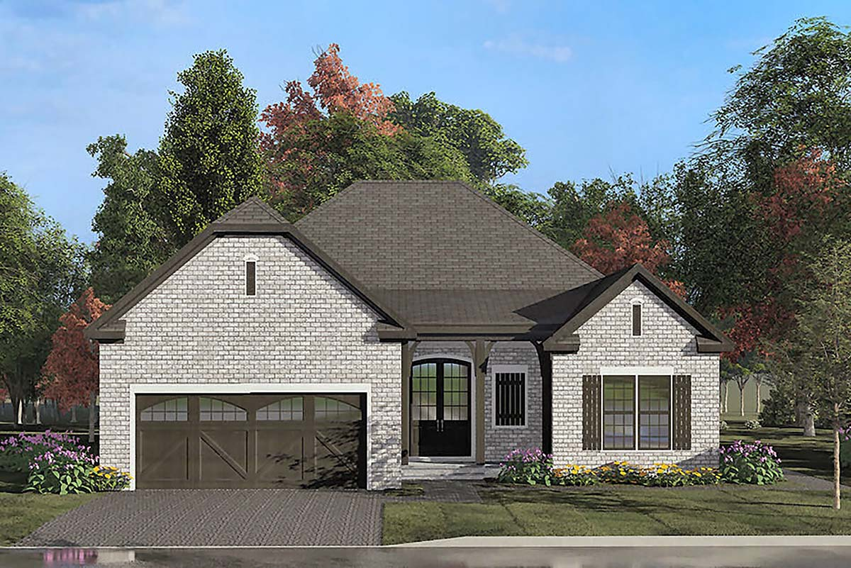 European, Traditional House Plan 82539 with 4 Beds, 2 Baths, 2 Car Garage Elevation