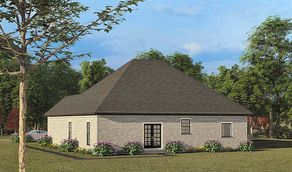European, Traditional House Plan 82539 with 4 Beds, 2 Baths, 2 Car Garage Rear Elevation