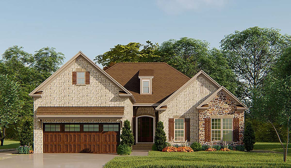 European, French Country, Traditional House Plan 82540 with 3 Beds, 3 Baths, 2 Car Garage Elevation