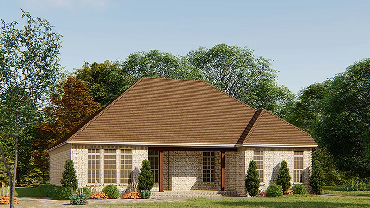 European, French Country, Traditional House Plan 82540 with 3 Beds, 3 Baths, 2 Car Garage Rear Elevation
