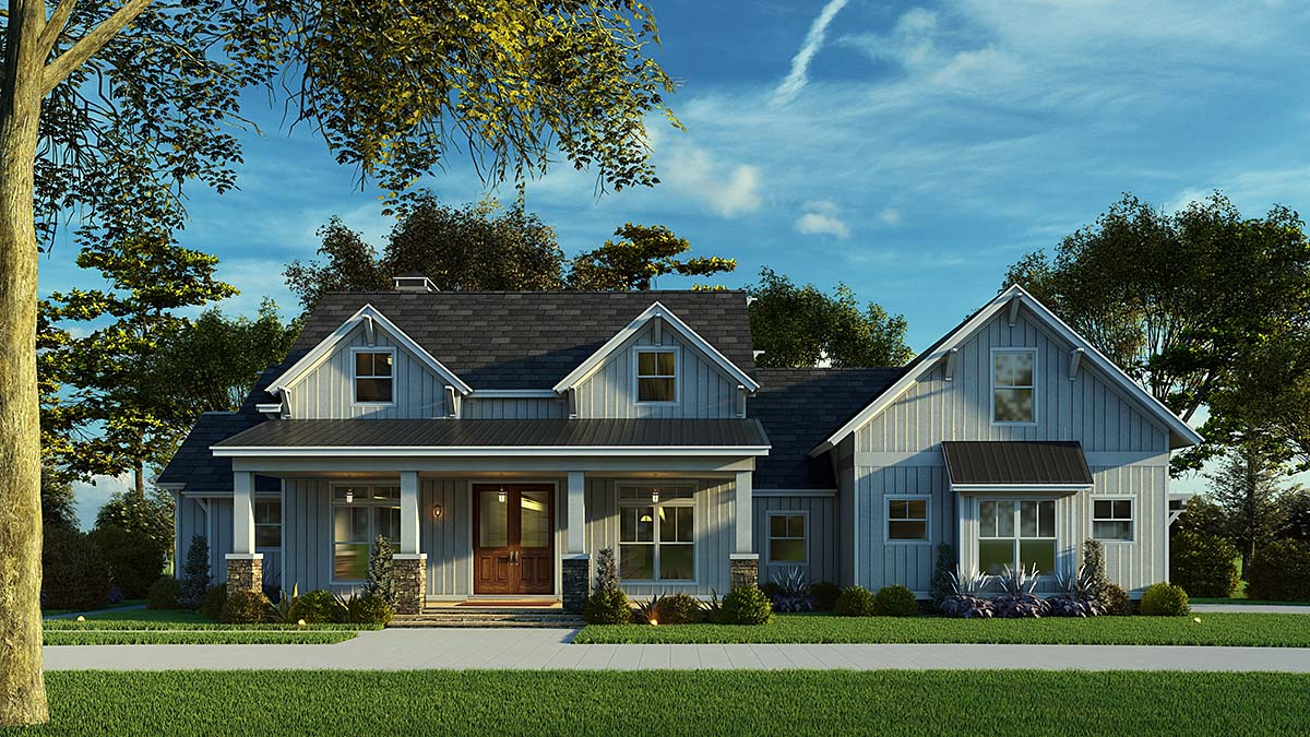 Bungalow, Country, Craftsman, Farmhouse House Plan 82541 with 3 Beds, 3 Baths, 2 Car Garage Elevation