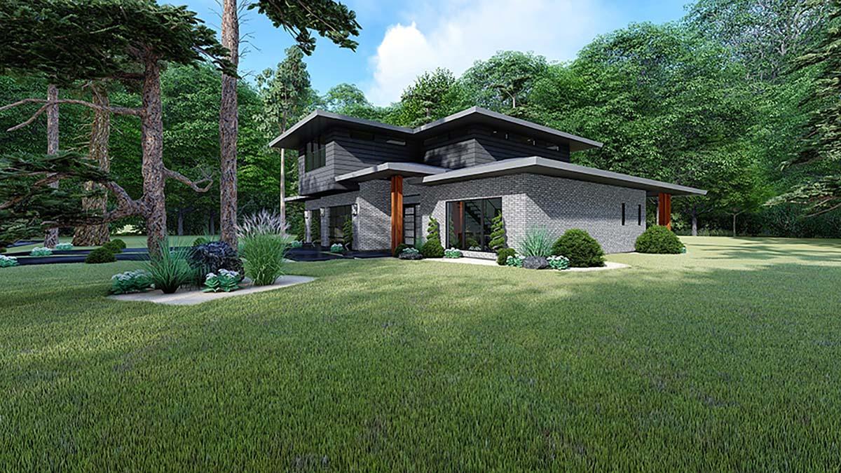 Contemporary, Mediterranean, Modern House Plan 82543 with 3 Beds, 2 Baths, 2 Car Garage Picture 1