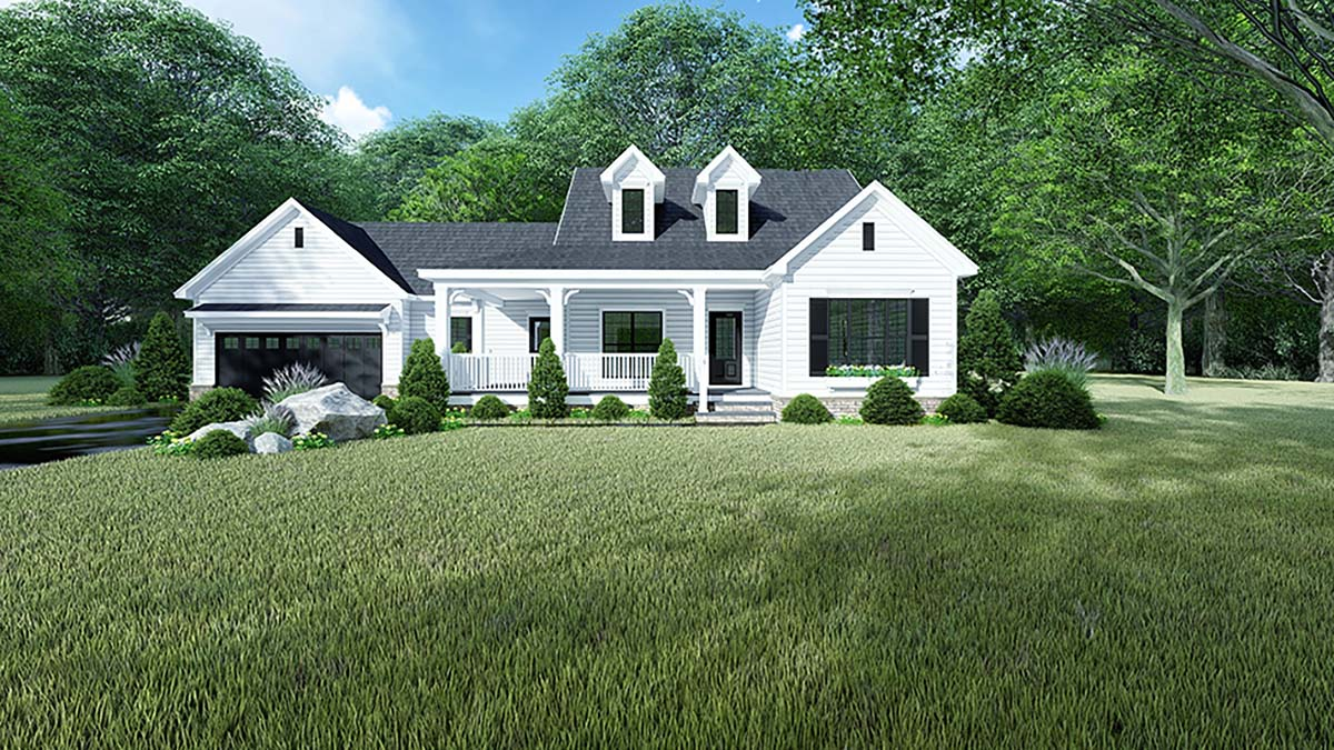 Country, Farmhouse, One-Story House Plan 82544 with 3 Beds, 2 Baths, 2 Car Garage Elevation