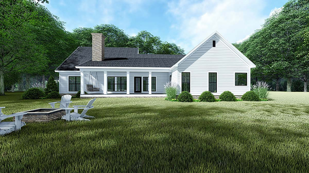 Country, Farmhouse, One-Story House Plan 82544 with 3 Beds, 2 Baths, 2 Car Garage Rear Elevation