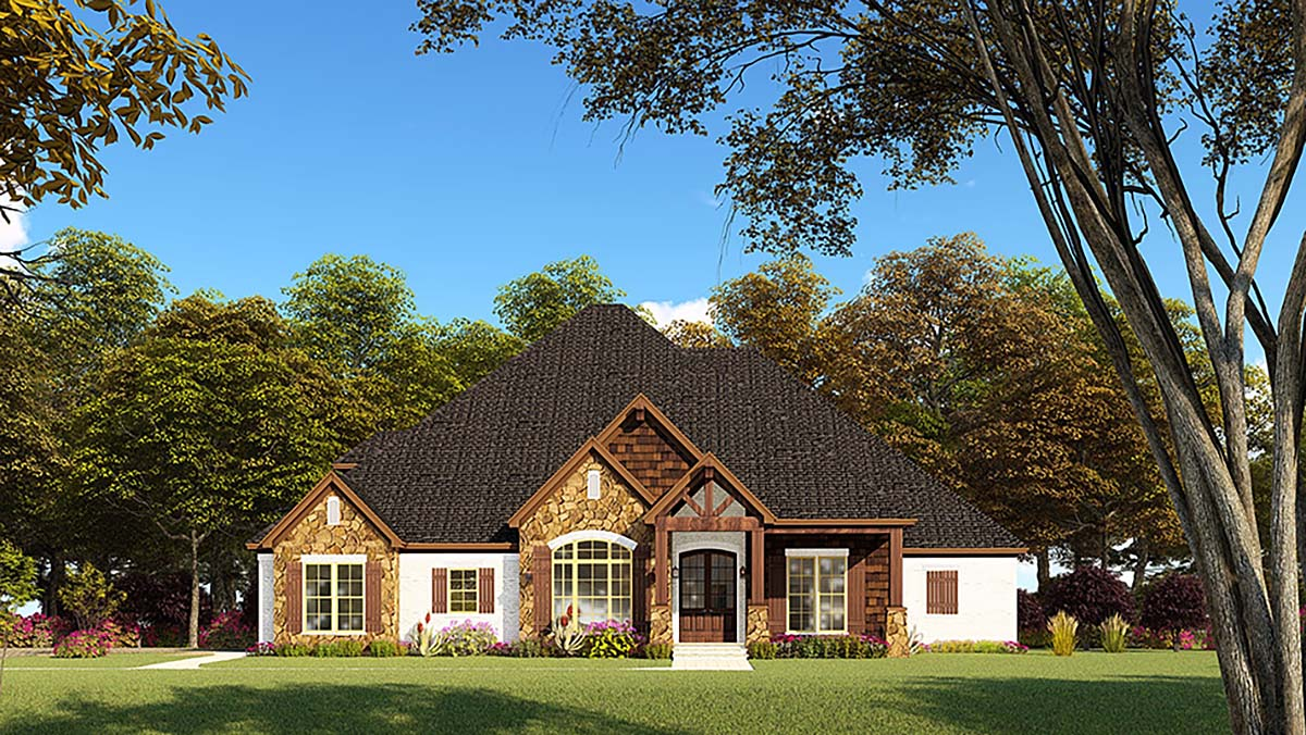 Bungalow, Craftsman, French Country, One-Story, Traditional House Plan 82552 with 4 Beds , 4 Baths , 2 Car Garage Elevation