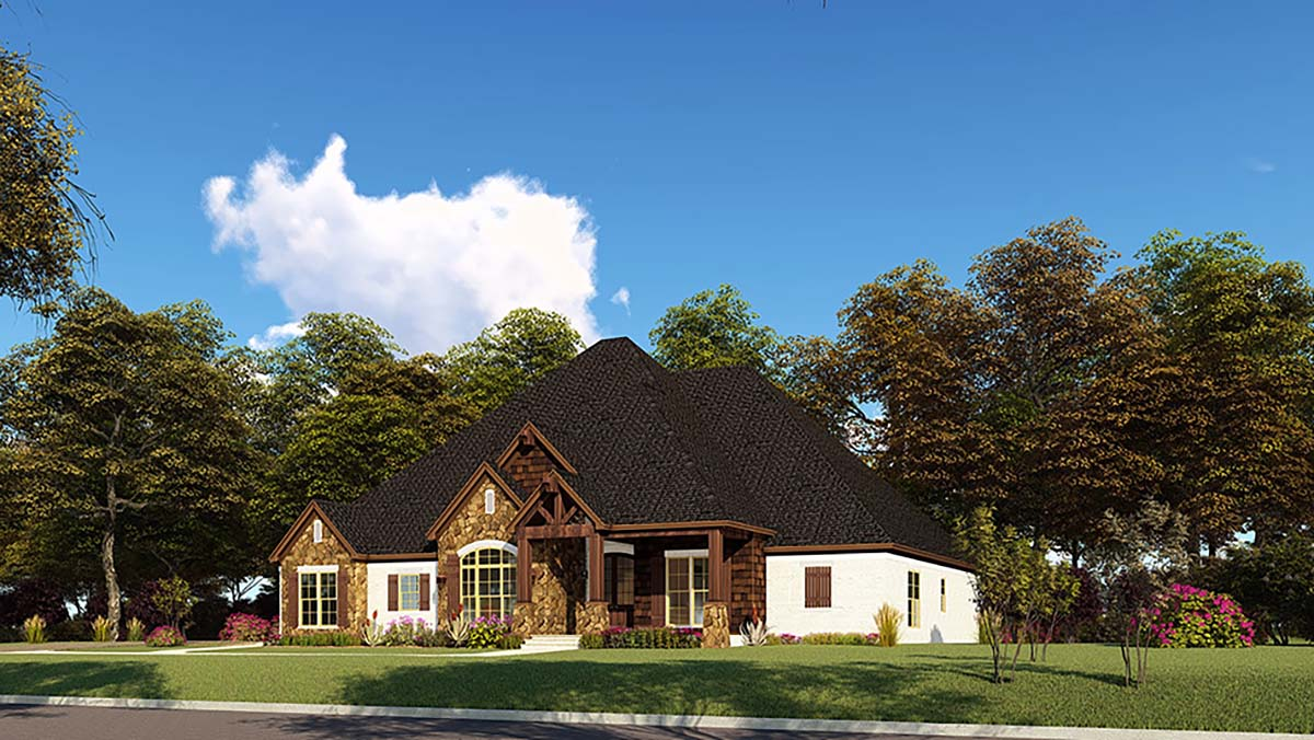 Bungalow, Craftsman, French Country, One-Story, Traditional House Plan 82552 with 4 Beds, 4 Baths, 2 Car Garage Picture 1