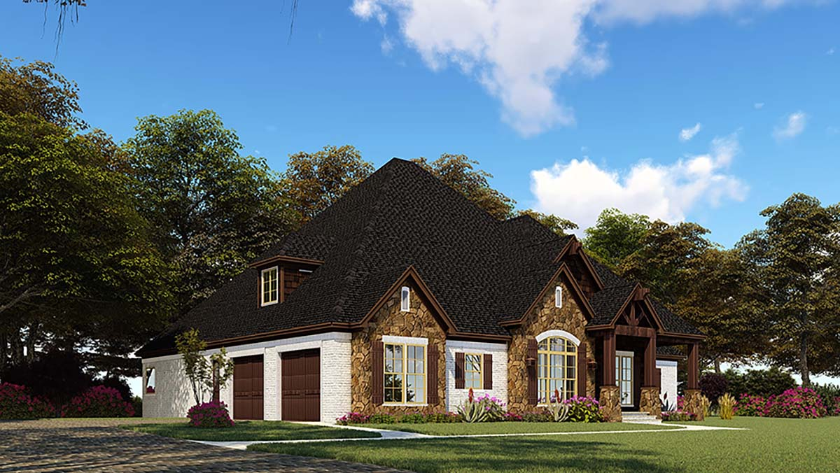 Bungalow, Craftsman, French Country, One-Story, Traditional House Plan 82552 with 4 Beds, 4 Baths, 2 Car Garage Picture 2