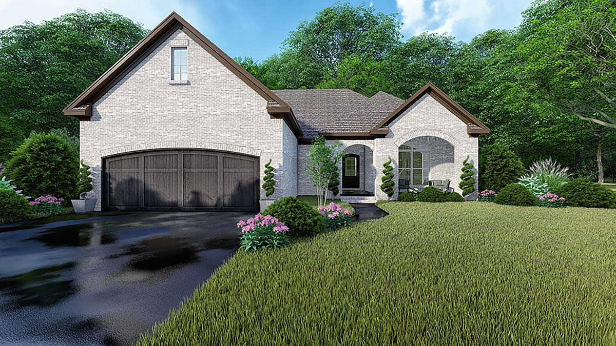 One-Story, Traditional House Plan 82553 with 3 Beds , 2 Baths , 2 Car Garage Elevation