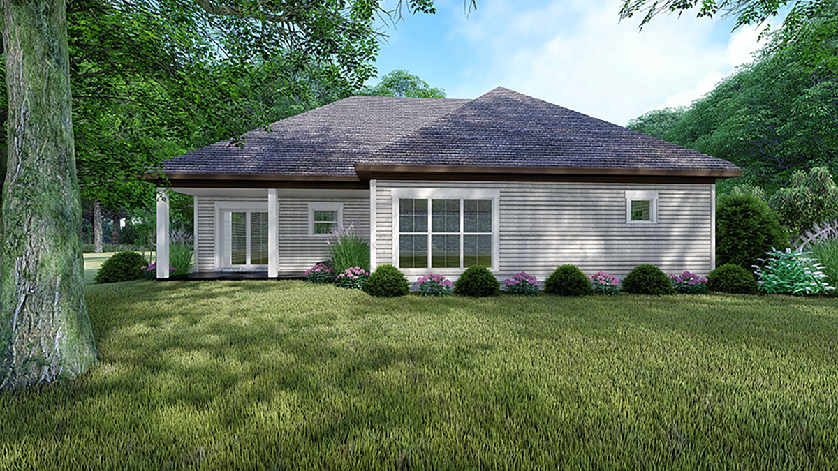 One-Story, Traditional House Plan 82553 with 3 Beds , 2 Baths , 2 Car Garage Rear Elevation
