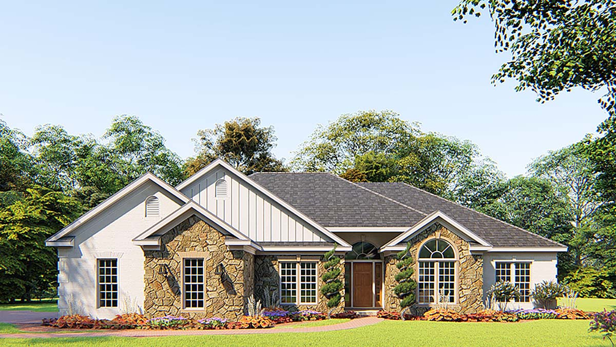 Bungalow, Craftsman, French Country, Traditional House Plan 82556 with 4 Beds , 3 Baths , 2 Car Garage Elevation